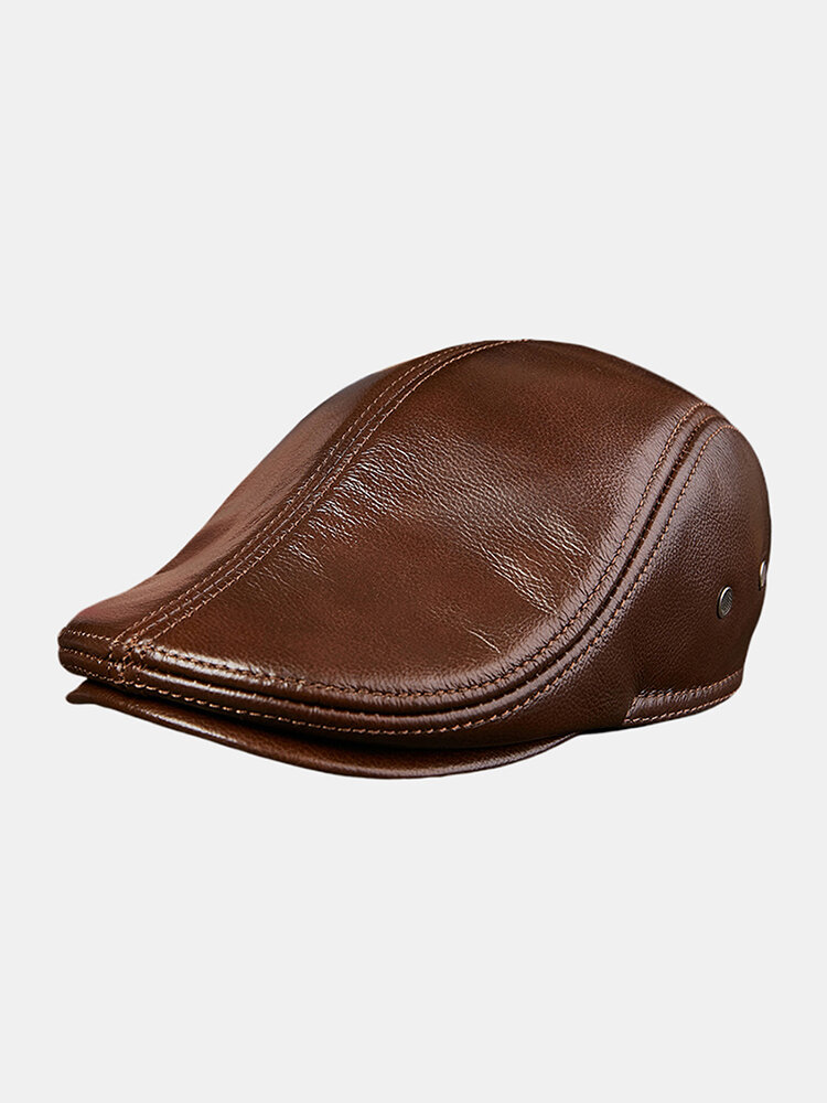 First Layer Cowhide Men's Leather Beret Hats Fashion Forward Hat