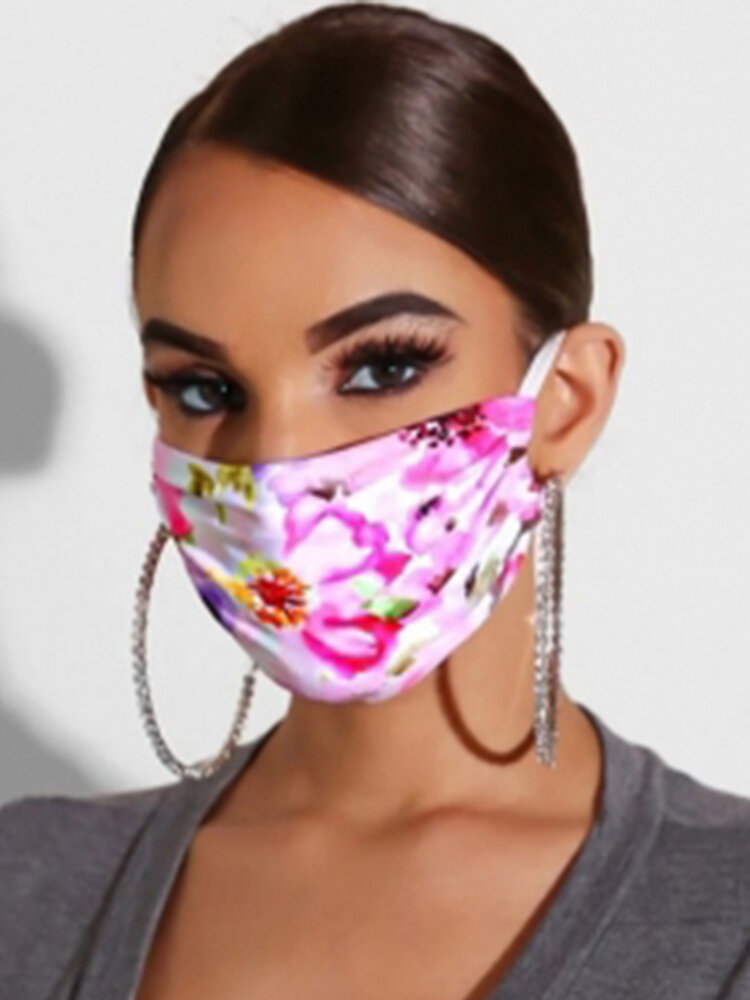 Women Adjustable Printed Chiffon Face Mask Breathable Ethnic Floral Mask