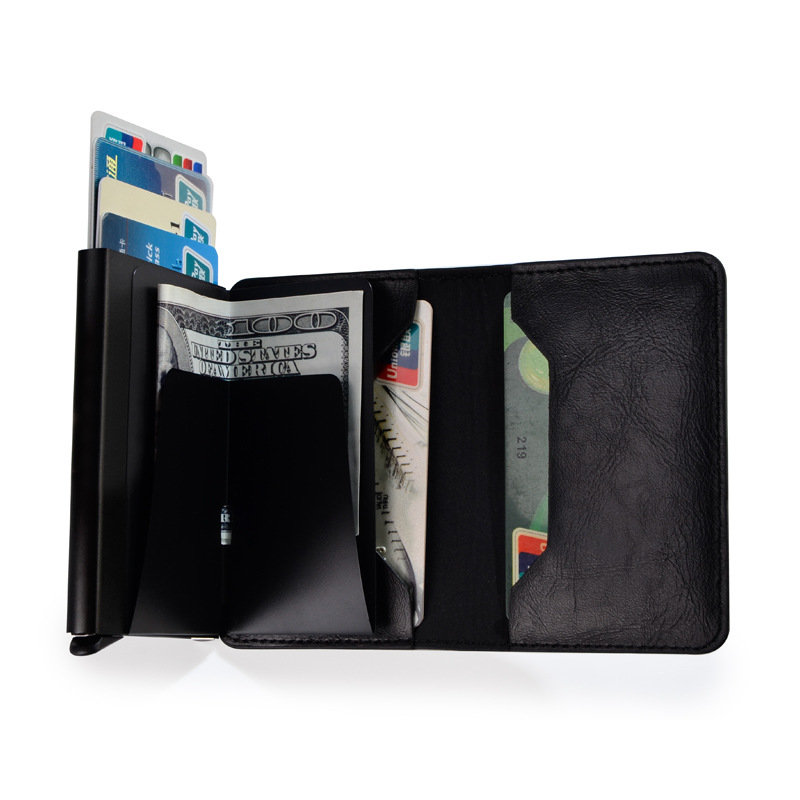 Men Faux Leather Retro Automatic Card Case Metal Card Holder Wallet