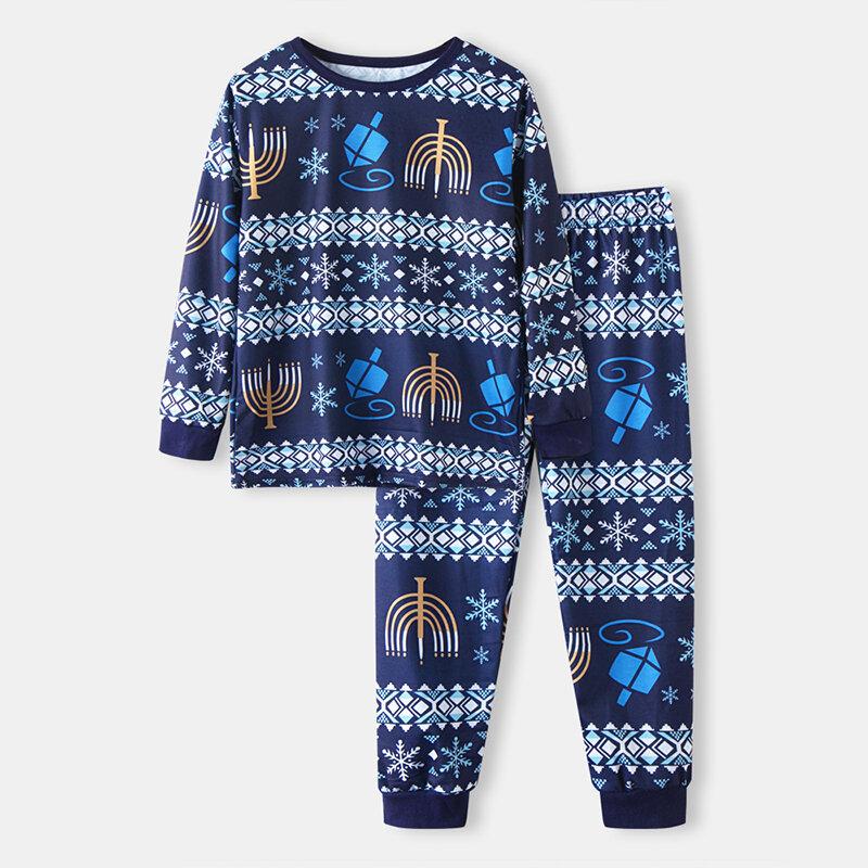 Kid's Christmas Print Casual Pajama Set For 2-10Y