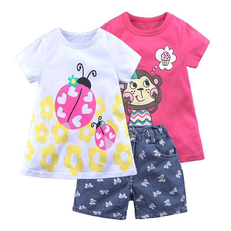 3Pcs Cartoon Print Toddler Girls Clothes Set T-shirts Tops + Jeans Shorts Pants For 1Y-9Y