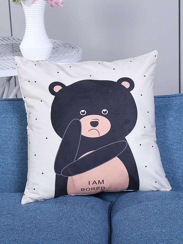Cartoon Panda Printing Linen Cotton Cushion Cover Soft-touching Pillowcases Home Sofa Office