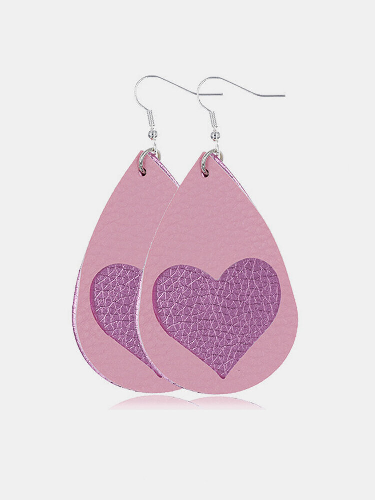 Vintage Drop-Shape Valentine's Day Heart Multilayer PU Leather Earrings