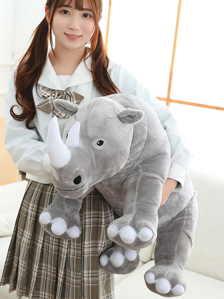 Grandi giocattoli di peluche di rinoceronte Cuscino di animali di peluche realistico Bambole di zoo Cuscino per bambini Giocattoli di peluche di rinoceronte