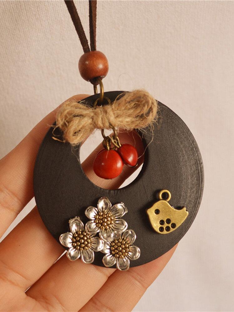 Vintage Flower Bird Red Bean Twine Bowknot Round-shape Wooden Buckskin Rope Alloy Necklaces