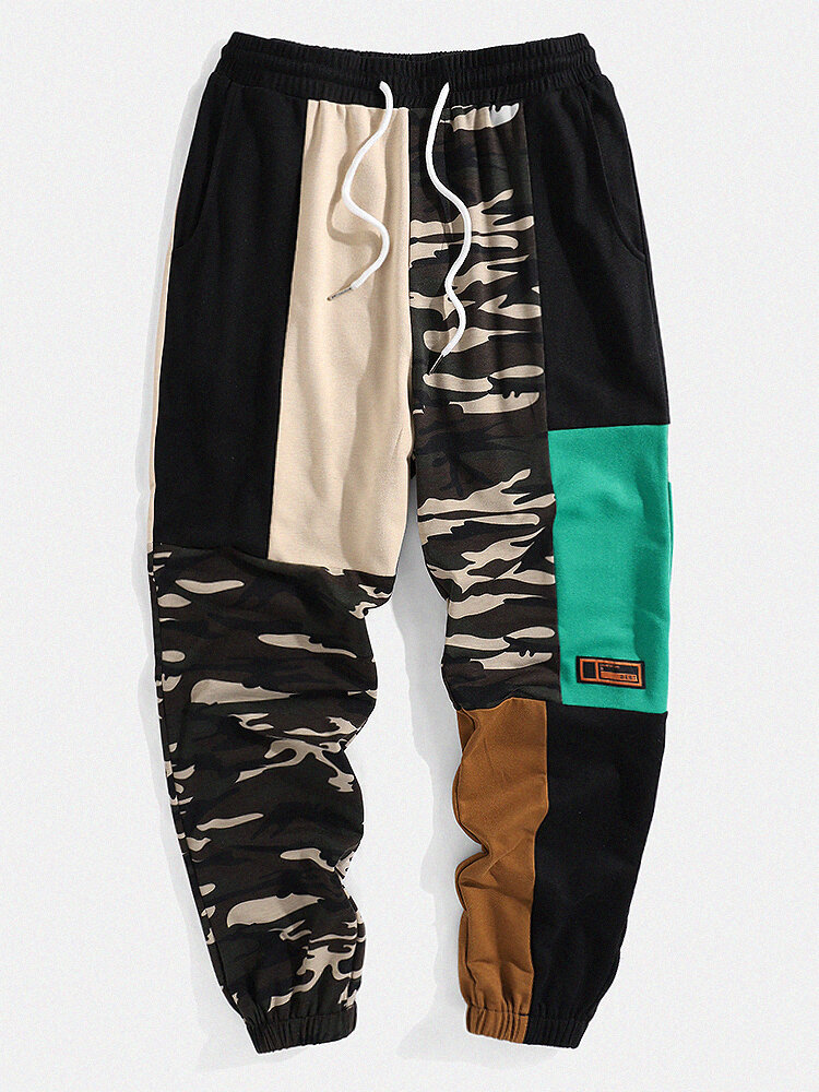 Mens Camo Patchwork Drawstring Cuffed Cargo Sweatpants With Pocket