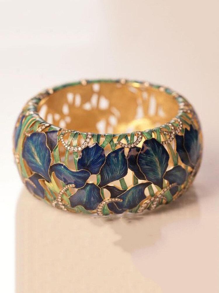 Vintage incrusté de diamant femmes bague creuse peinte fleur feuille bague bijoux cadeau