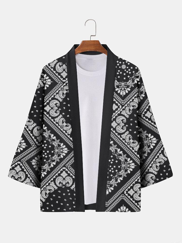 Mens Monochrome Paisley Scarf Print Open Front 3/4 Sleeve Kimono