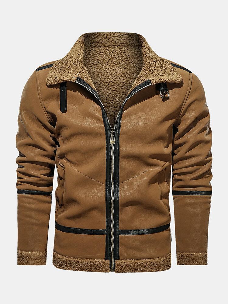 Mens Vintage Zipper Up Borg Collar Winter Thick Fur Jackets