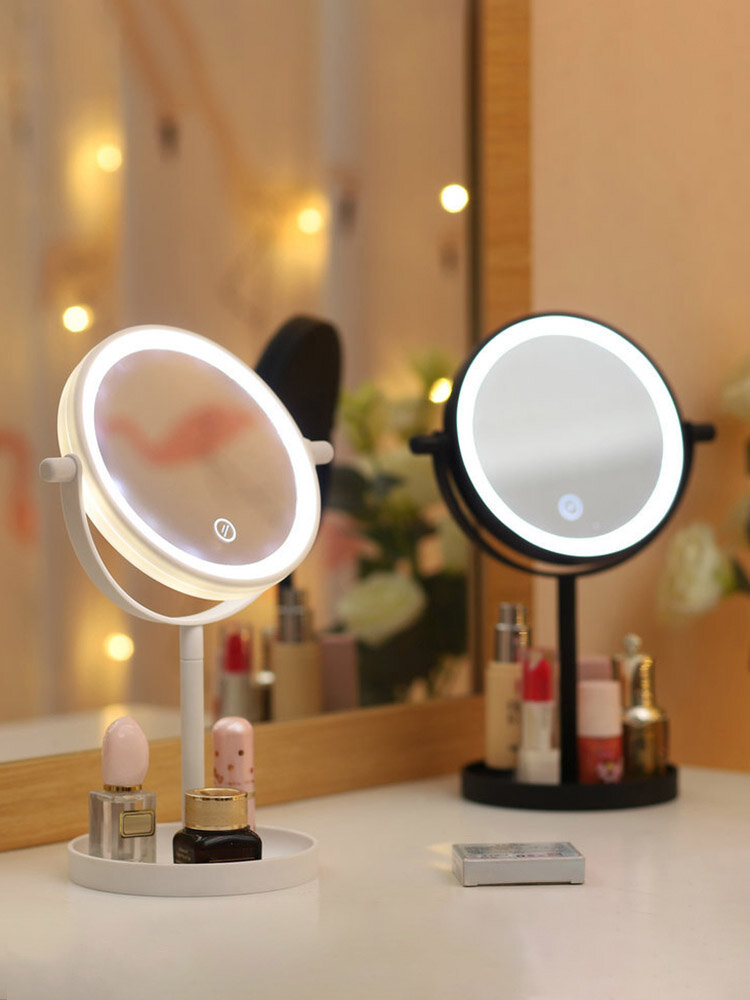 Portable 360° Rotaty 14 LED Light Makeup Mirrors Non-slip Touch Screen Vanity Table Lamp