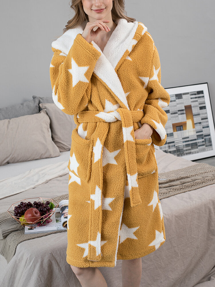Women Star Print Fleece Thick Lace-Up Double Pockets Casual Home Warm Hooded Robes