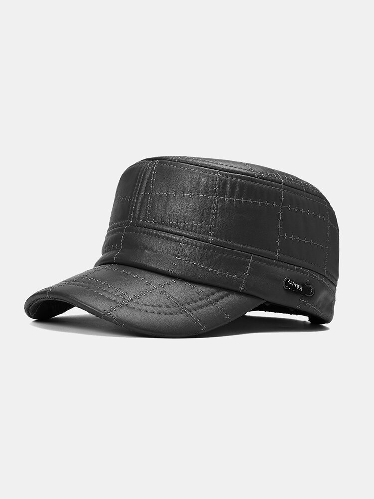 Men's Flat Top Leather Hat Warm Hat Military Army Peaked Dad Cap Flat Hats