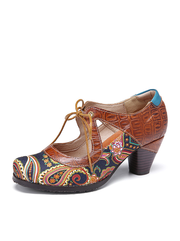 SOCOFY Vintage Paisley Splicing Leather Cutout Lace up Chunky Heel Pumps