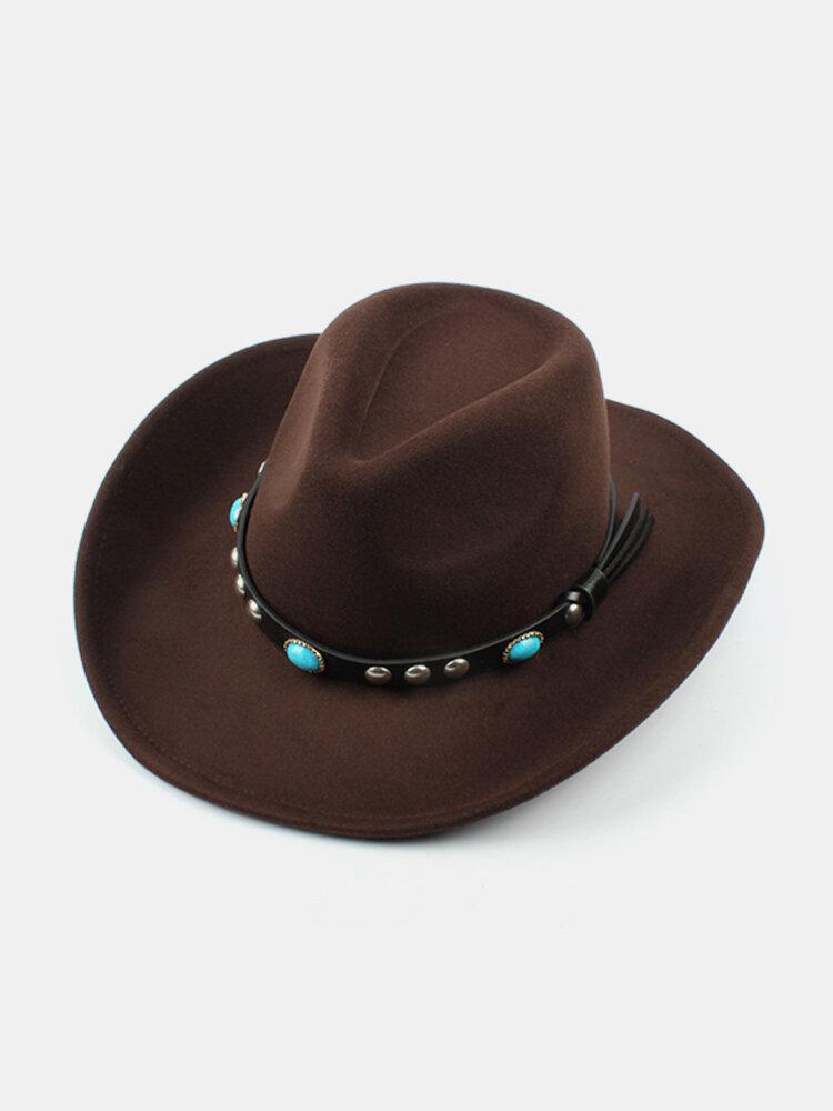 Mens Women Woolen Western Cowboy Hat Vintage Wide Brim Cowgirl Jazz Cap Horse Riding Hat