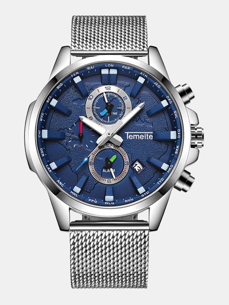 Small Three Pointer Men Business Watch Chronograph Calendar Waterproof Quartz Watch