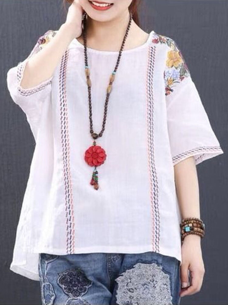 ヴィンテージフラワー刺繍半袖OネックTシャツ女性用