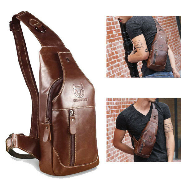 Bullcaptain Men Genuine Leather Business Casual Chest Bags Shoulder Crossbody Bag