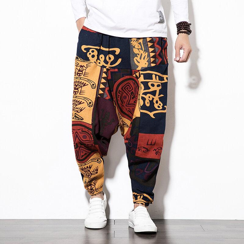 Baggy Cotton Linen Haremshose für Herren Vintage Hip Hop Weite Hose Streetwear Pants