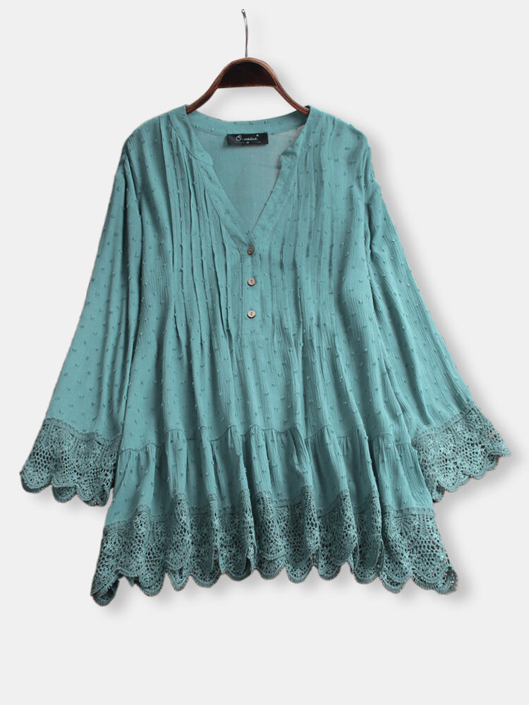 Lace Pleated V-neck Long Sleeve Summer Plus Size Blouse