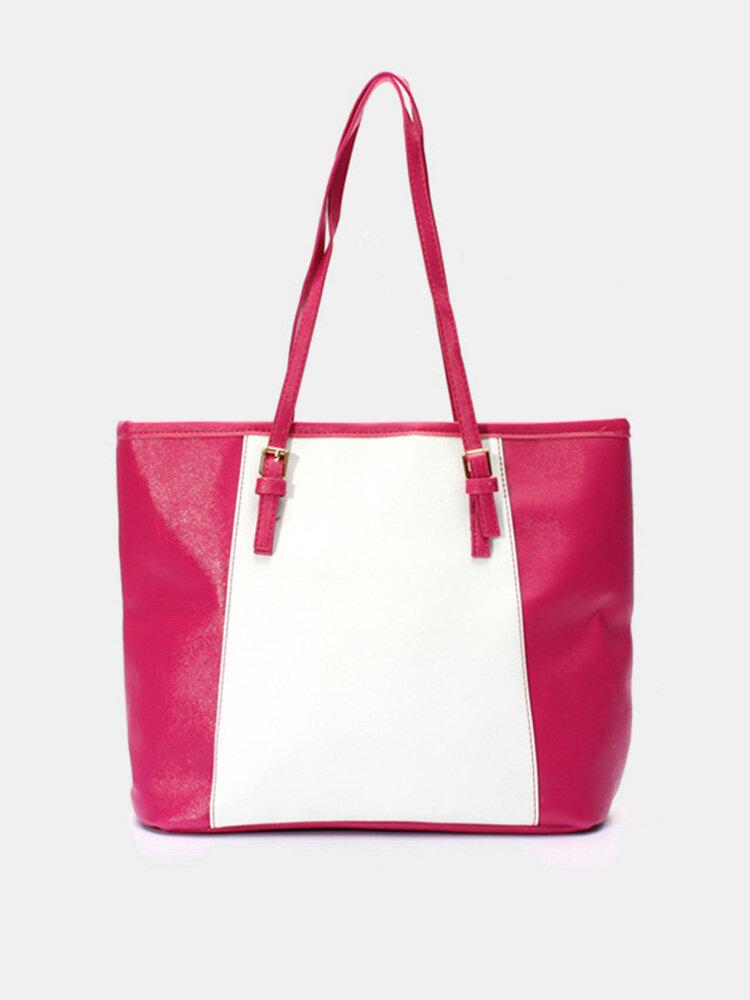 Elegant Women Contrast Color Leather Handbag