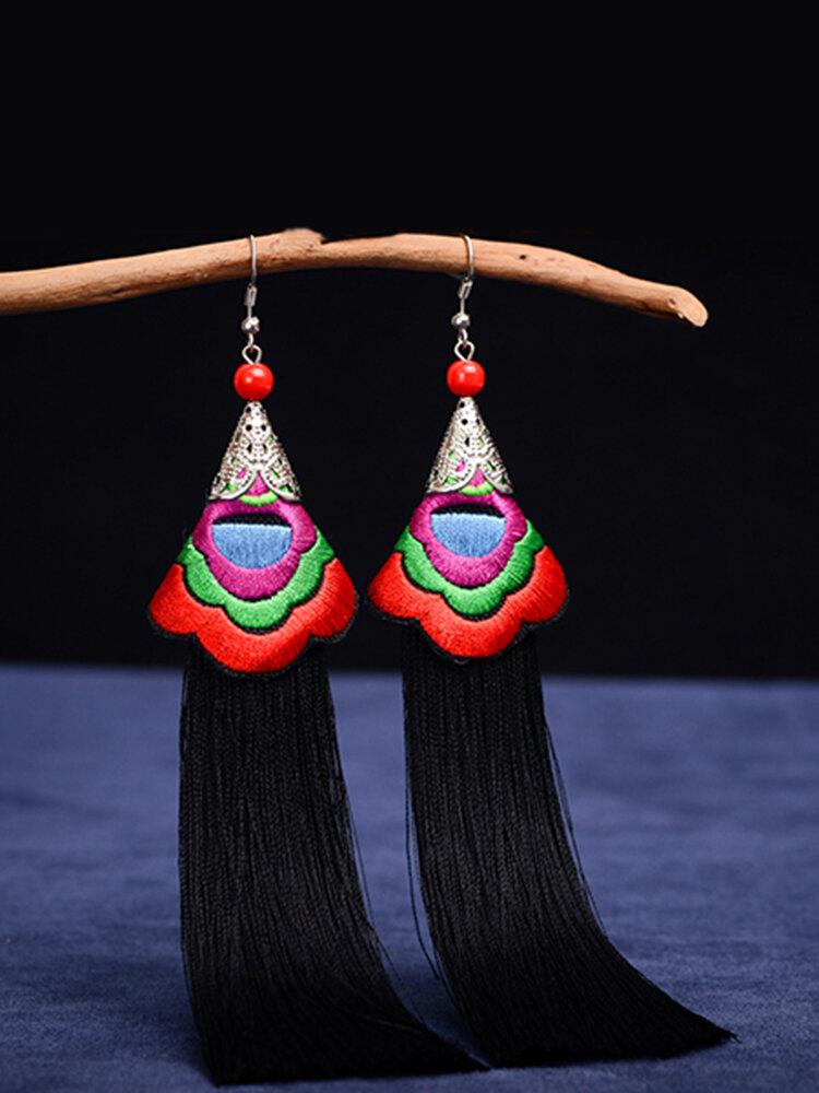 Ethnic Embroidery Flower Ceramics Beads Earrings Vintage Long Tassels Dangle Earrings for Women
