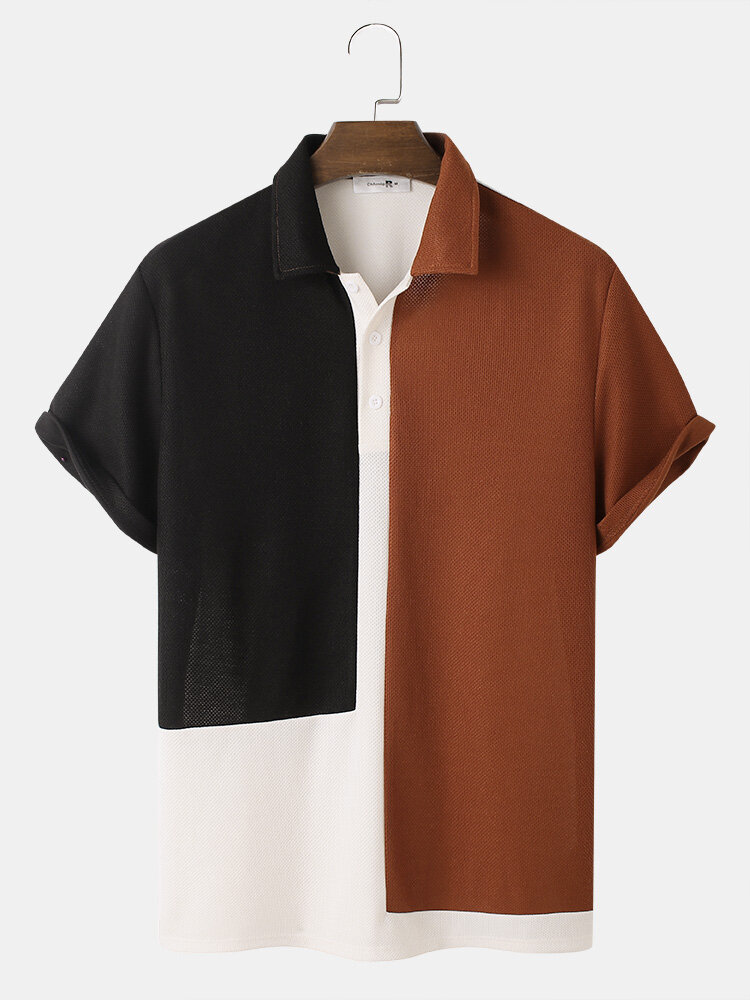 Herren Tricolor Strick Revers Kurzarm Hemd mit normalem Saum