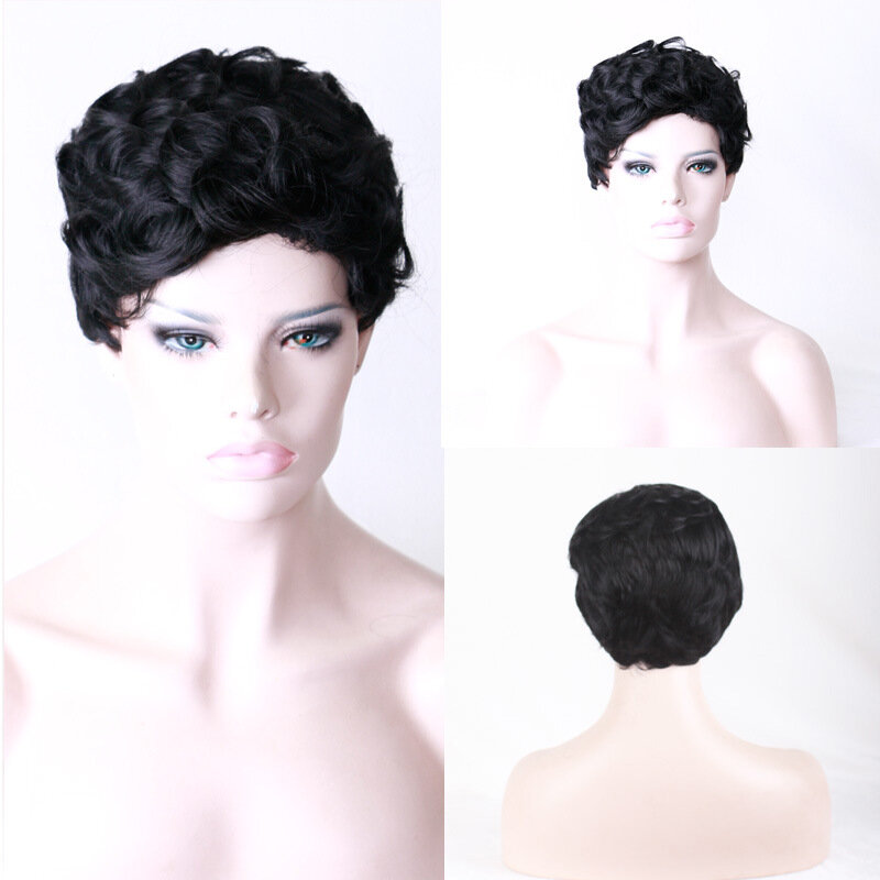 Short Black Curly Hair Wig High Temperature Fiber Wigs For Women