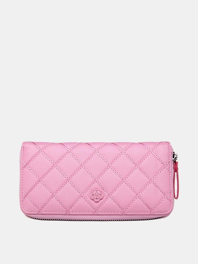 Women Casual Long Card Bag Leisure Grain Wallet