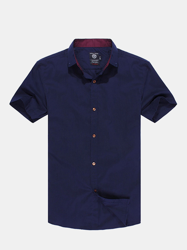 Men's Business Casual Cotton Blended Pure Color Slim Fit Short-sleeve Shirt