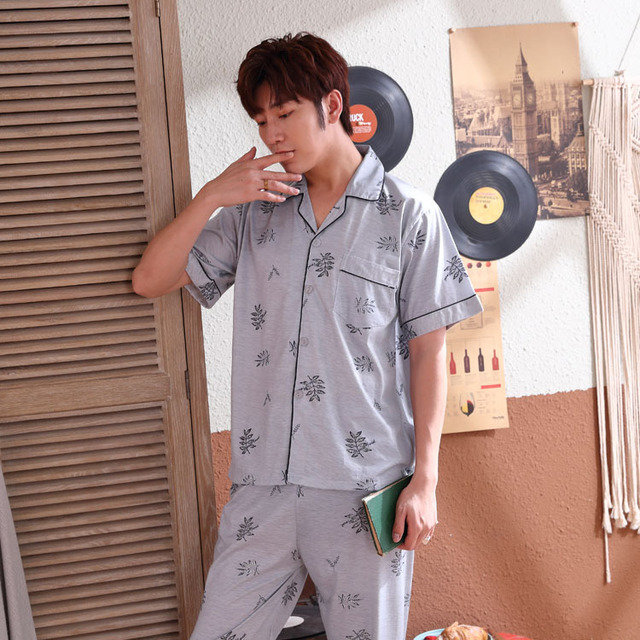 Pajamas Men's Season Knitted Cotton Short-sleeved Trousers Thin Section Middle-aged Father's Home Service Suit Loose XL