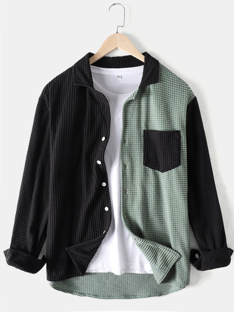 Mens Colorblock Patchwork Corduroy Lapel Long Sleeve Shirts With Pocket