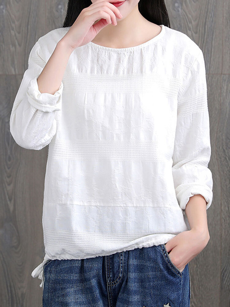 Solid Jacquard Knotted Long Sleeve O-neck Vintage Blouse