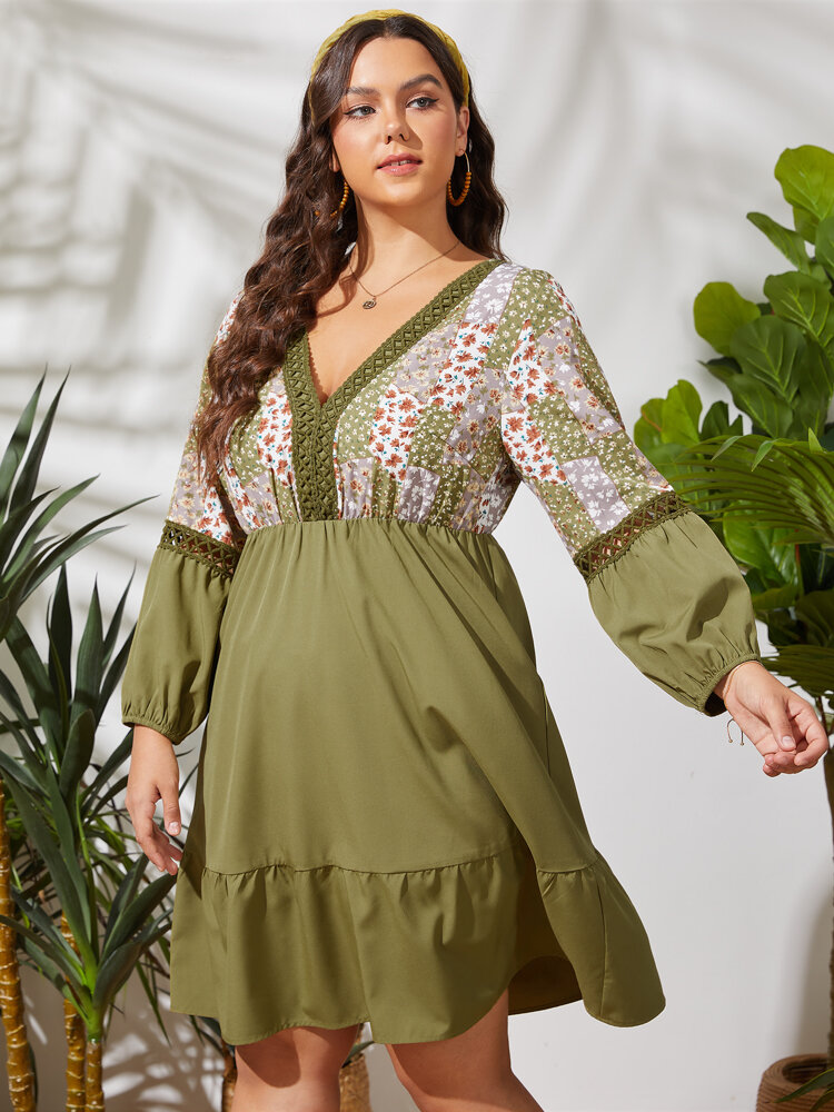 Floral Print Patchwork Ribbon Hollow-out Ruffled Long Sleeve Plus Size Dress
