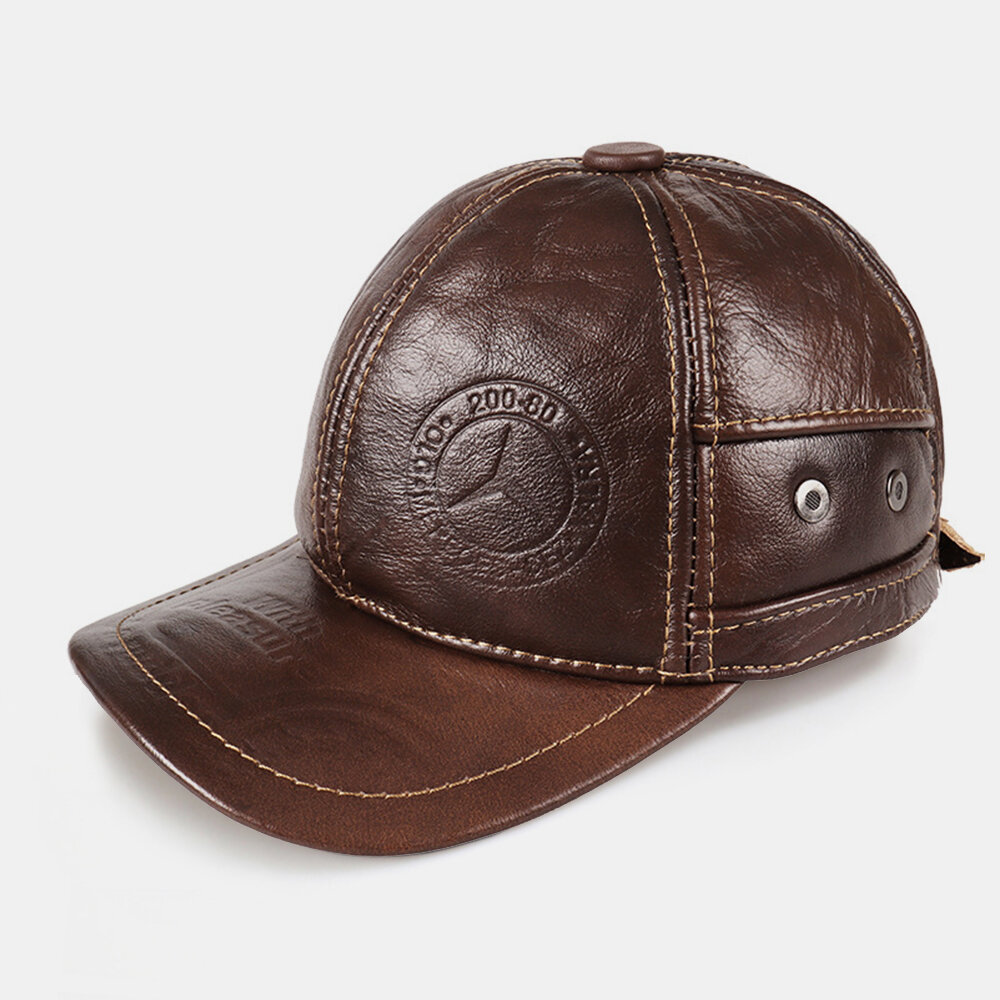 Men's Leather Hat First Layer Cowhide Casual Dome Duck Tongue Ear Protection Adjustable Big Brim Baseball Cap