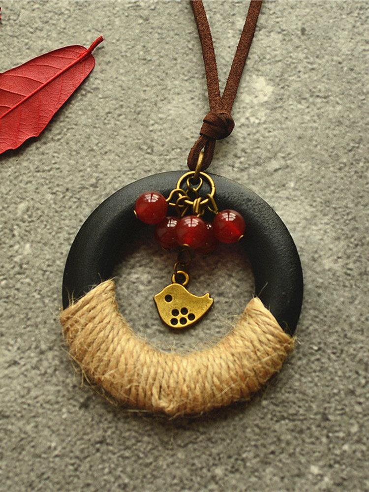 Vintage Winding Hemp Rope Circle-shaped Hollow Bird Beaded Tassel Buckskin Rope Alloy Stone Wood Long Sweater Necklace