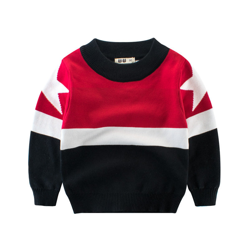 Casual Printed Toddler Boys O-Neck Long Sleeve Sweaters For 2Y-11Y