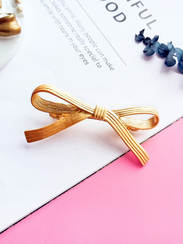 Pince à cheveux douce argent or bowknot alliage mode cheveux accessoires bijoux pour femmes