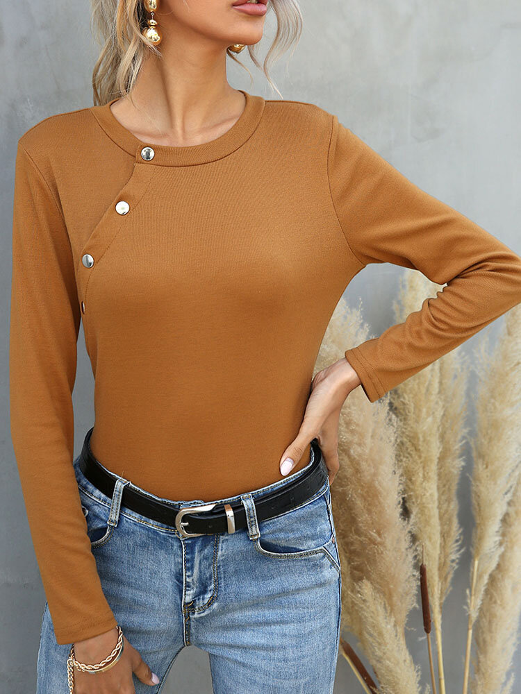 Solid Button Long Sleeve O-neck T-shirt for Women