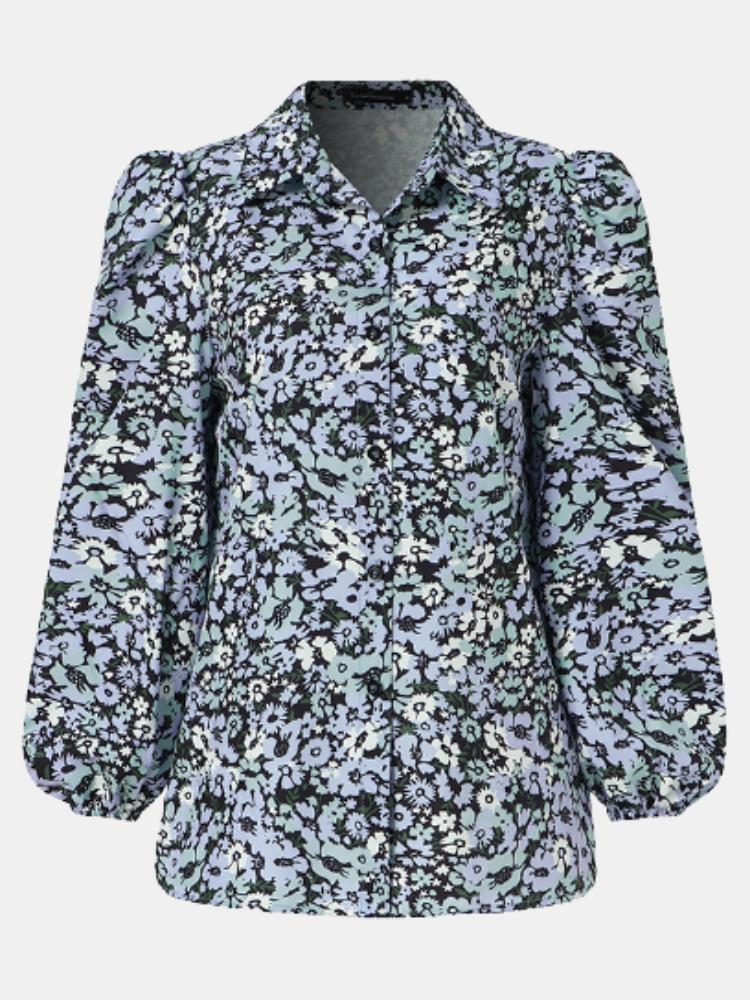 Floral Print Lapel Puff Sleeve Plus Size Shirt for Women