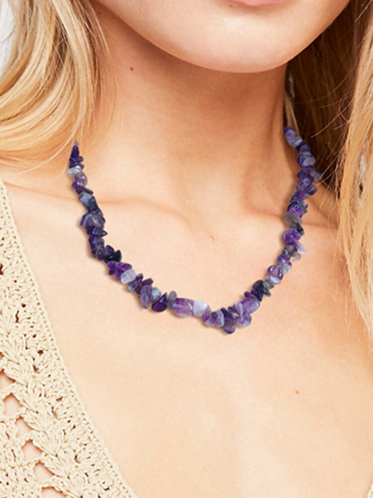 Natural Stone Women Necklace Adjustable Amethyst Fragment Rose Quartz Coral Crystal Beaded Necklace Jewelry