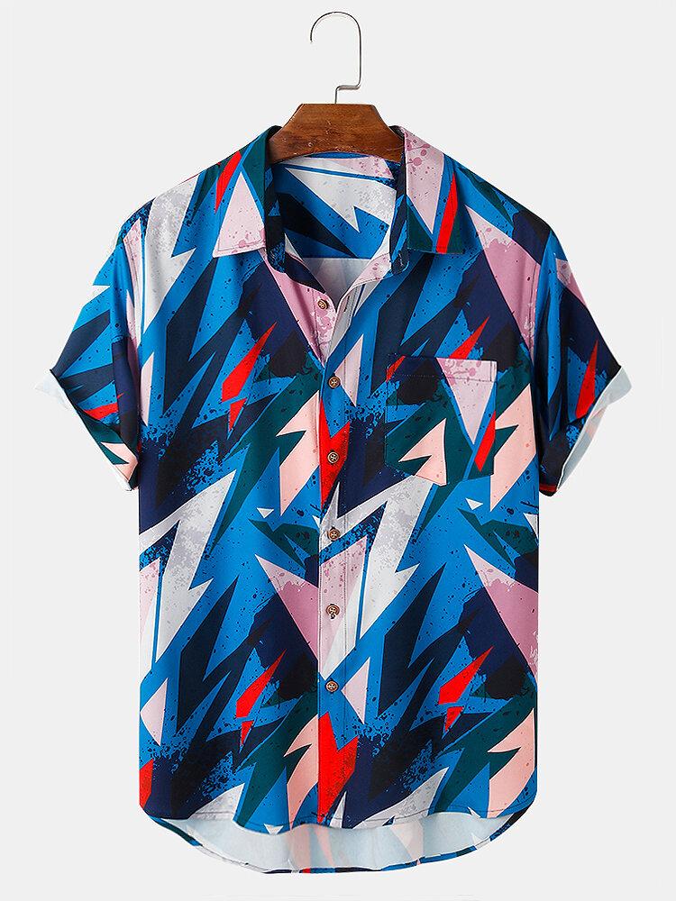 メンズコントラストカラージオメトリグラフィックスラペルポケット半袖シャツ