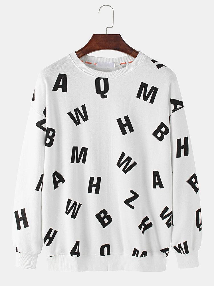 Mens Cotton Allover Letter Printed Round Neck Casual Drop Shoulder Sweatshirts