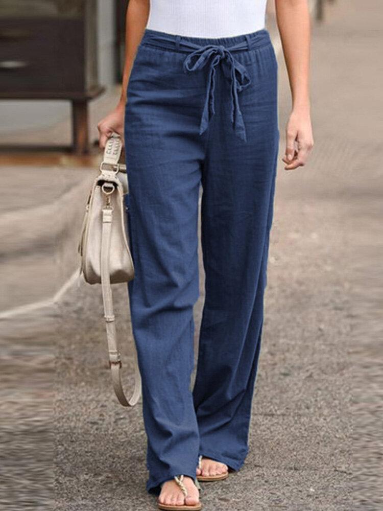 Elastic Waist Bowknot Straight Vintage Plus Size Pants