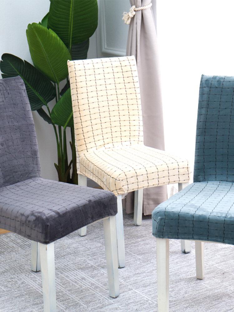 Plush Plaid Elastic Chair Cove Spandex Elastic Dining Chair Protective Case Soft Plush Chair Cover