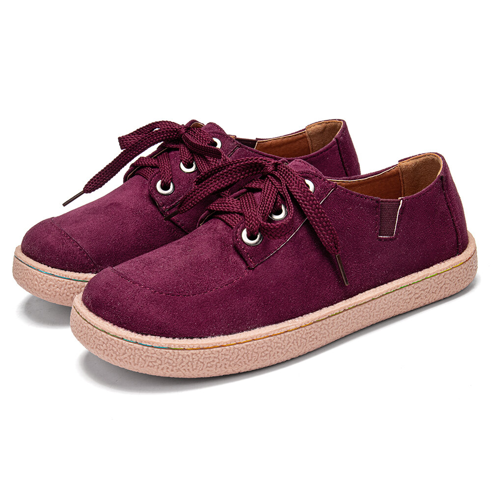 Women Solid Color Soft Suede Comfy Wearable Lace-up Flats