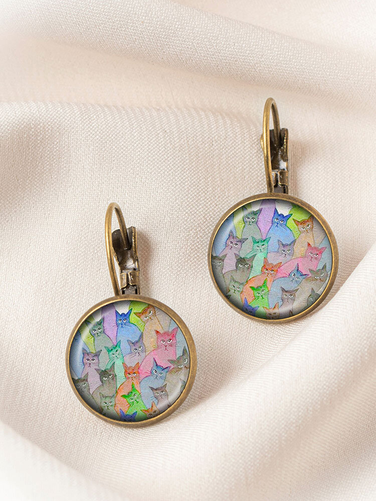 Bronze Glass Round Multicolor Cat Looking Sideways Print Pendant Women Earrings