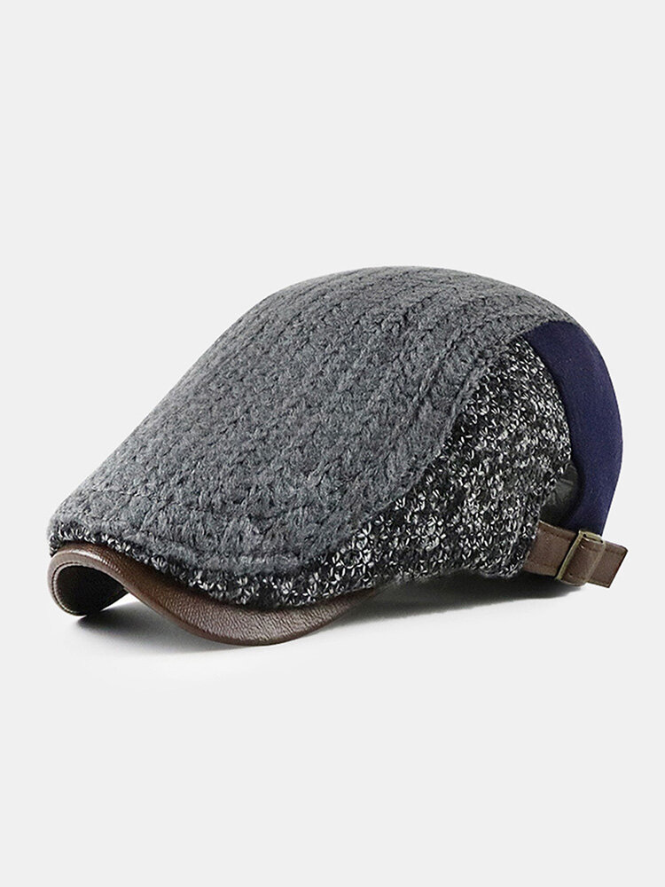 Men Knitted Patchwork Color-match Casual Warmth Beret Flat Cap