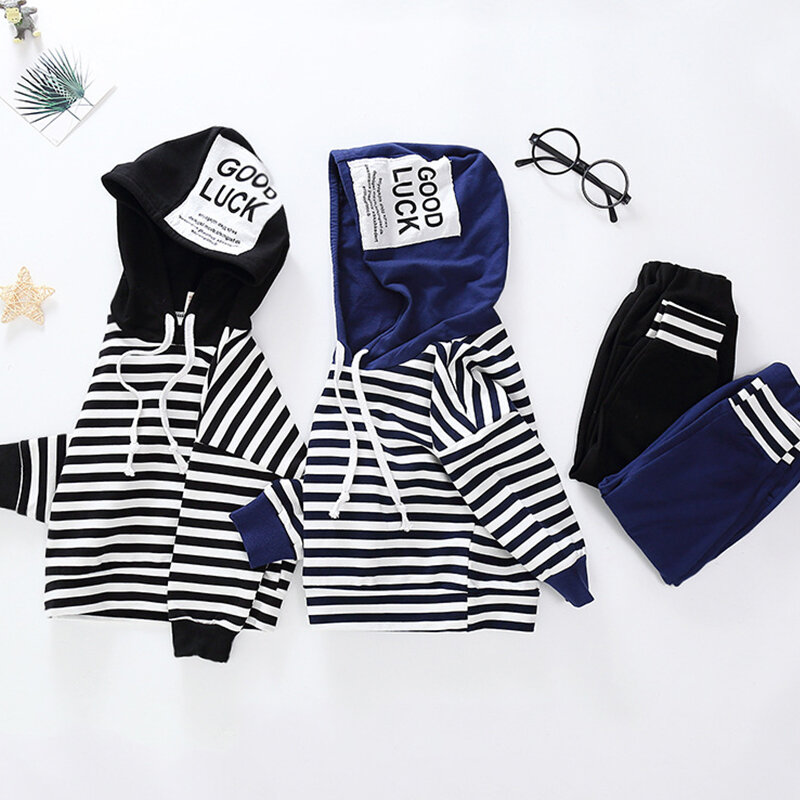 Boys 2Pcs Cotton Hooded Striped Casual Suit Sweater Clothing Set For 1-9Y