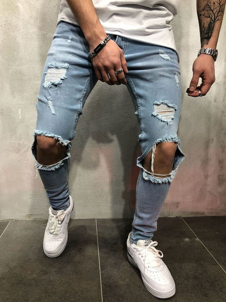 Men's Classic All-Match Trendy Knee-Hole Jeans With Small Feet