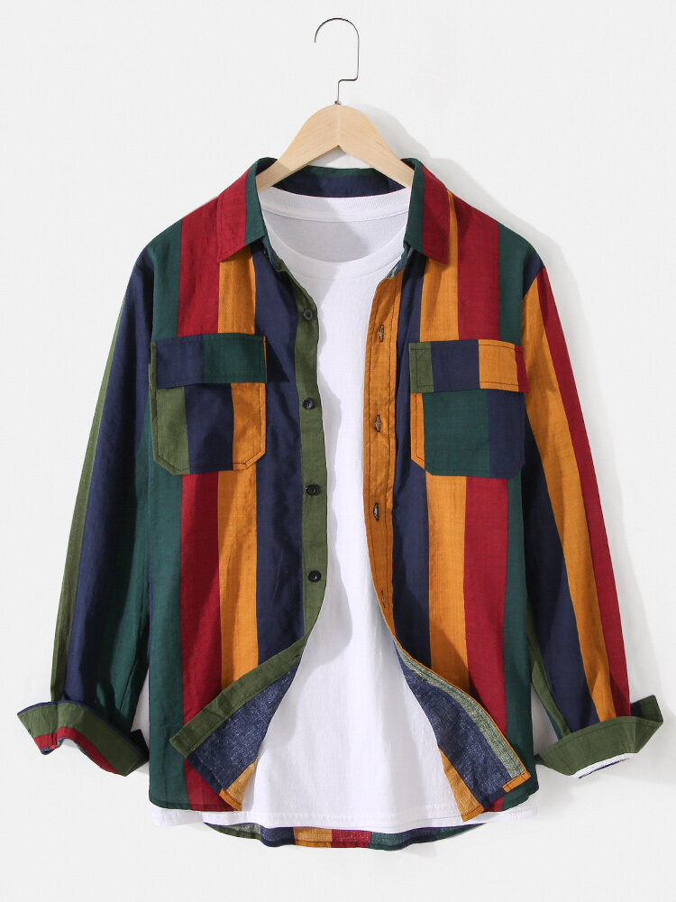 Mens Colorful Stripe Casual Long Sleeve Shirts With Flap Pockets